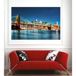 Affiche poster ville New York pont de brooklyn