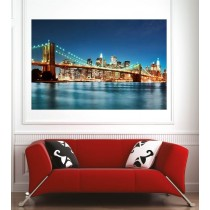 Affiche poster ville New York pont de brooklyn