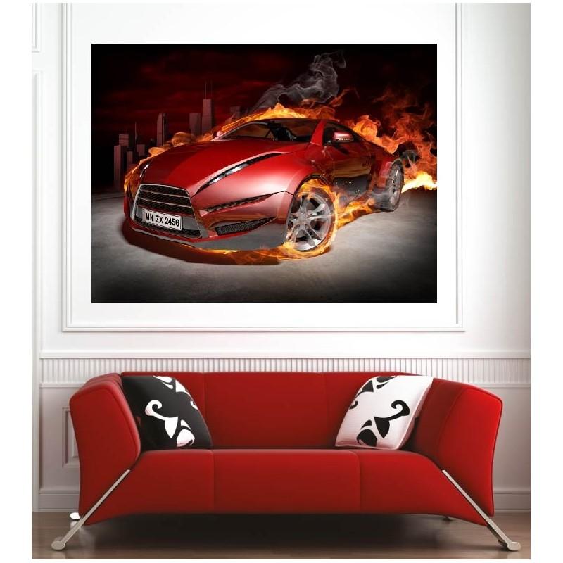 affiche poster voiture sport en feu art d co stickers. Black Bedroom Furniture Sets. Home Design Ideas