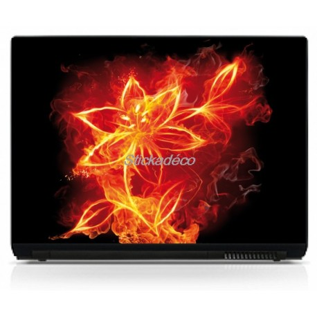 Stickers Autocollants PC portable Fleur en Feu