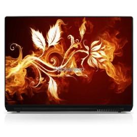 Sticker PC portable Fleur en Feu