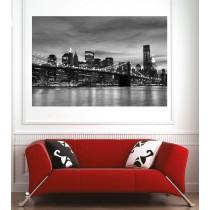 Affiche poster ville pont de Brooklyn New York