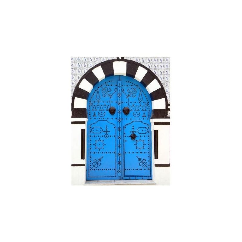 Affiche poster porte bleu orientale art d co stickers for Poster porte orientale