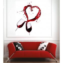 Affiche poster coupe de vin coeur