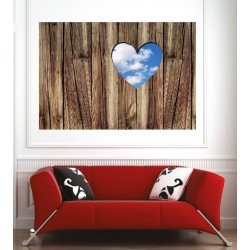 Affiche poster coeur sur bois