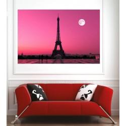 Affiche poster ville Paris Tour Eiffel couché de soleil
