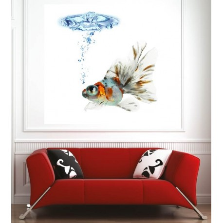 Affiche poster poisson rouge art d co stickers for Deco poisson rouge
