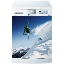 Stickers lave vaisselle ou magnet lave vaisselle Skieur