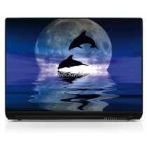 Stickers Autocollants PC portable Dauphins Lune