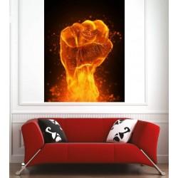 Affiche poster main en feu
