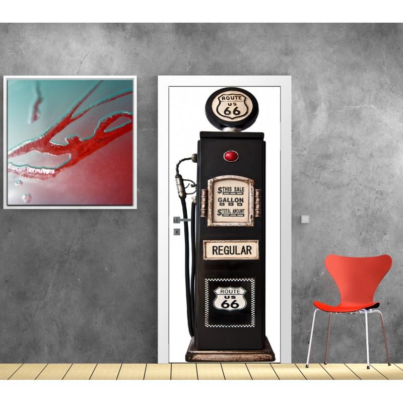 affiche poster porte d co pompe essence art d co stickers. Black Bedroom Furniture Sets. Home Design Ideas