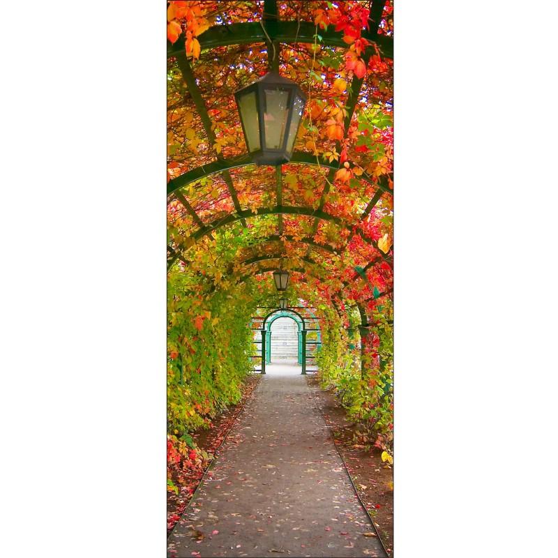 Papier peint porte d co jardin art d co stickers - Papier peint porte pour ...