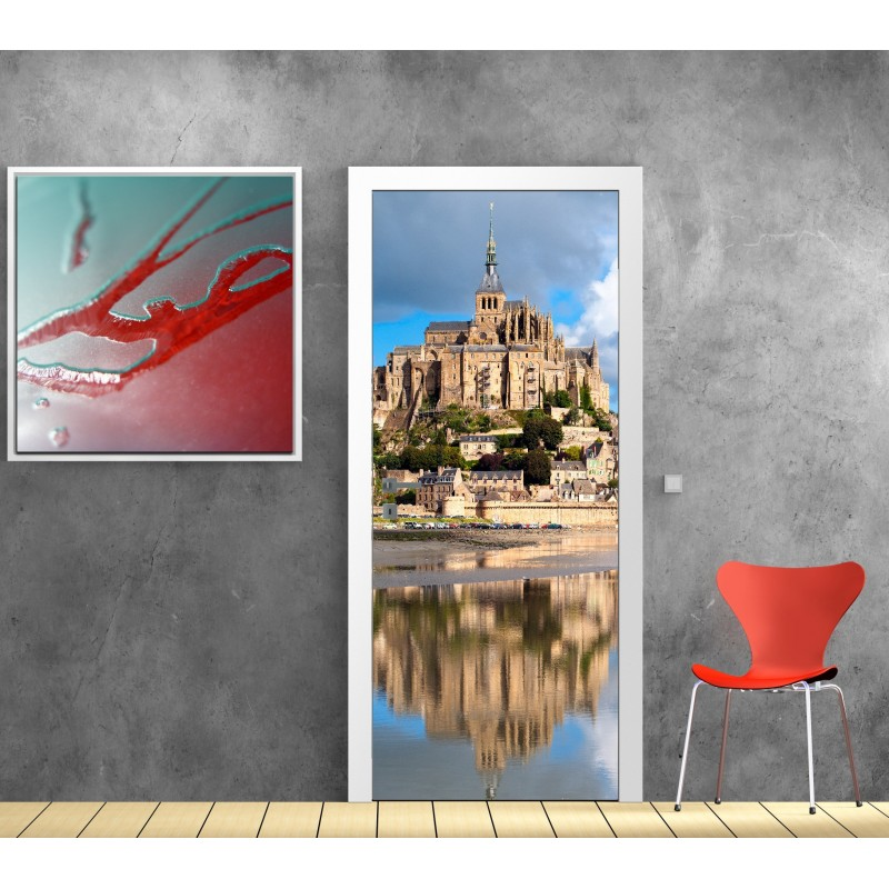 affiche poster porte d co mont st michel art d co stickers. Black Bedroom Furniture Sets. Home Design Ideas