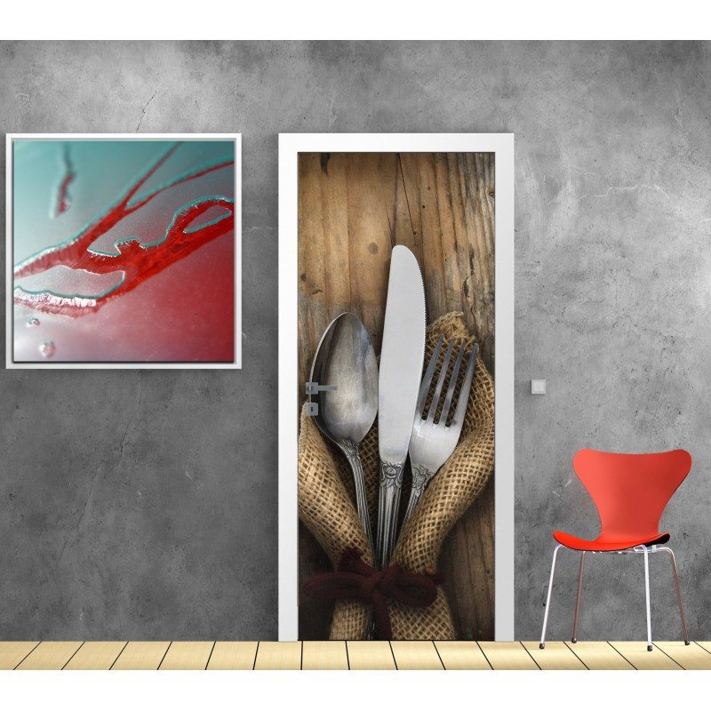 affiche poster porte d co cuisine couverts art d co stickers. Black Bedroom Furniture Sets. Home Design Ideas