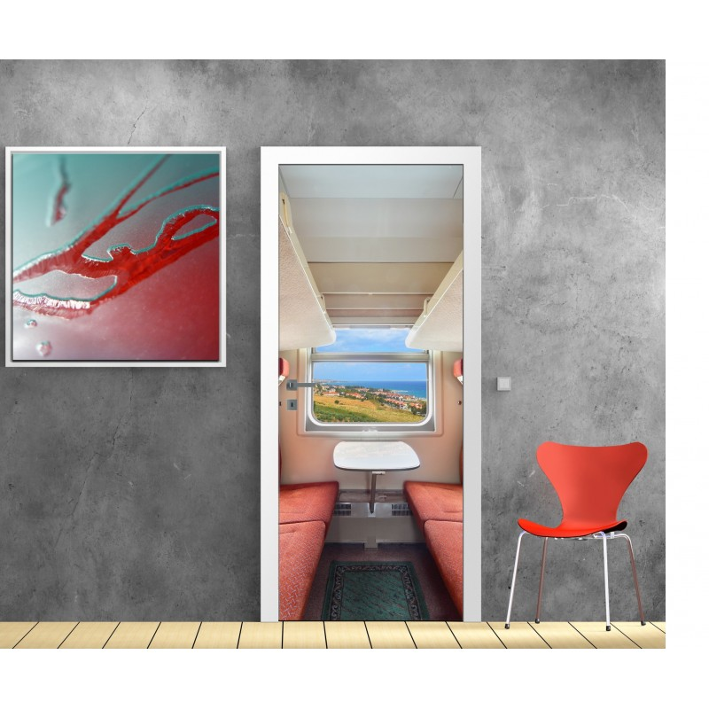 papier peint porte d co cabine train art d co stickers. Black Bedroom Furniture Sets. Home Design Ideas