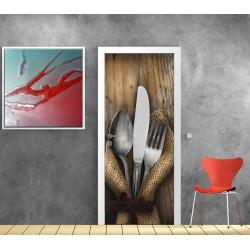 Papier peint porte déco - Cuisine couverts