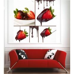 Affiche poster fraise chocolat
