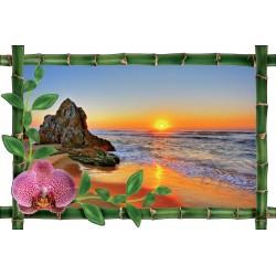 Sticker Bambou déco Couché de soleil