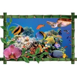 Sticker Bambou déco Fond marin