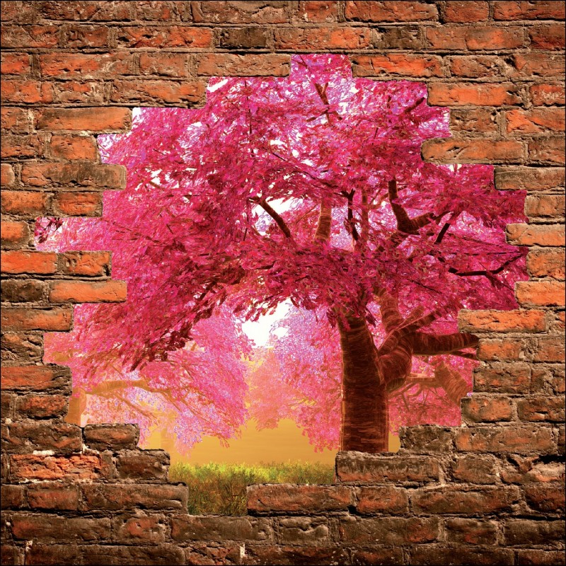 Sticker mural trompe l 39 oeil arbre art d co stickers - Deco trompe l oeil mural ...