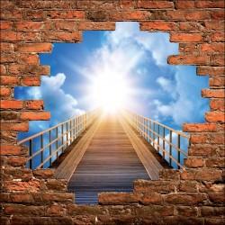 Sticker mural trompe l'oeil pont vers le ciel