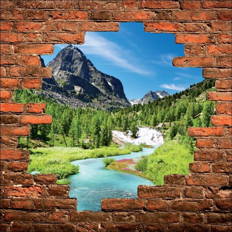 sticker mural trompe l 39 oeil lac vue sur la montagne art d co stickers. Black Bedroom Furniture Sets. Home Design Ideas