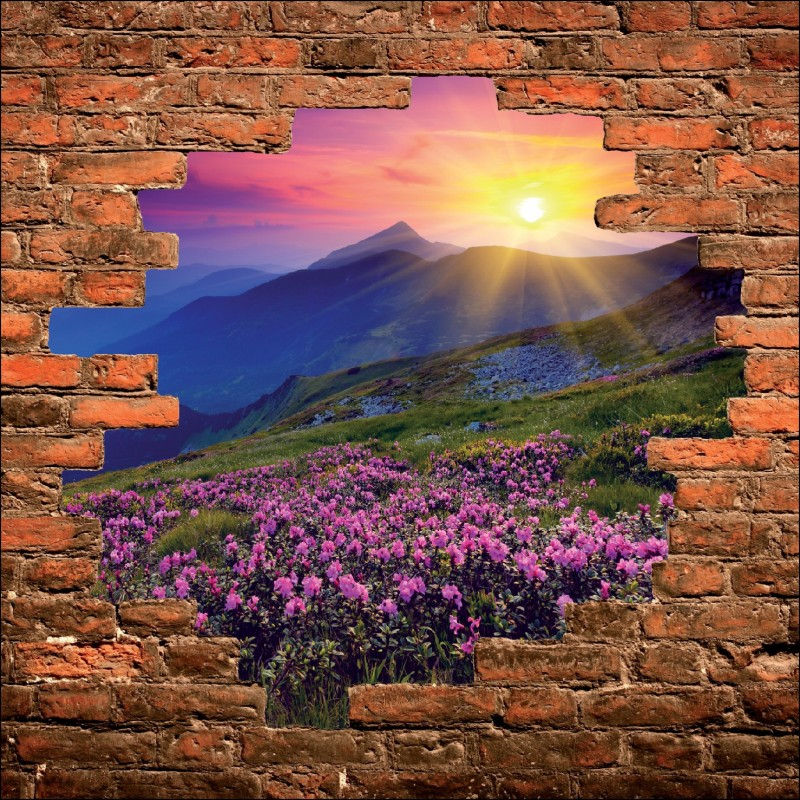 Sticker mural trompe l 39 oeil paysage art d co stickers - Sticker trompe l oeil mural ...