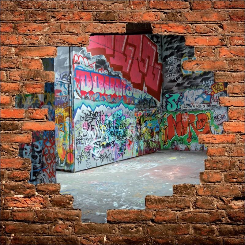 sticker mural trompe l 39 oeil tag graffiti art d co stickers. Black Bedroom Furniture Sets. Home Design Ideas