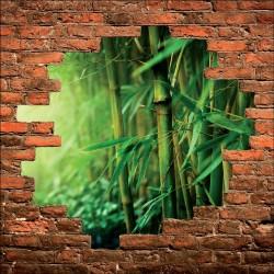 Sticker mural trompe l'oeil bambou