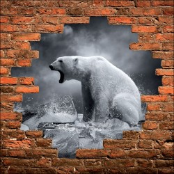 Sticker mural trompe l'oeil ours polaire