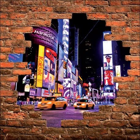 Sticker mural trompe l'oeil taxi New York