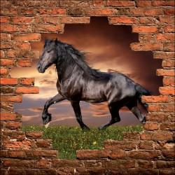 Sticker mural trompe l'oeil cheval