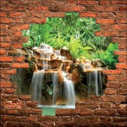 Sticker mural trompe l'oeil chute d'eau