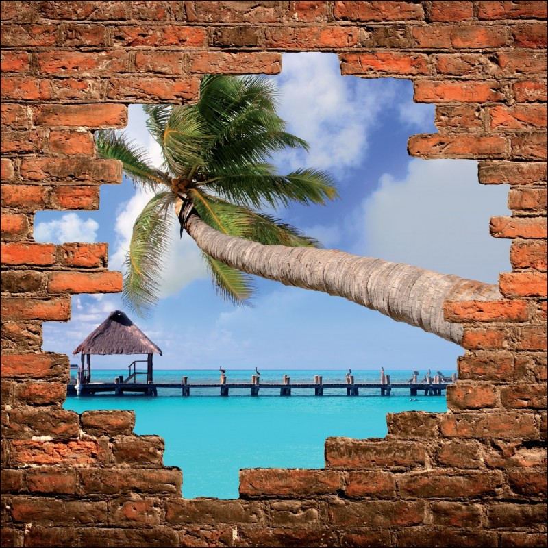 Sticker mural trompe l 39 oeil maldives art d co stickers - Deco trompe l oeil mural ...