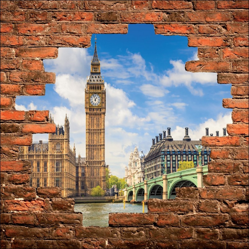 Sticker mural trompe l 39 oeil monument londres art d co - Deco trompe l oeil mural ...
