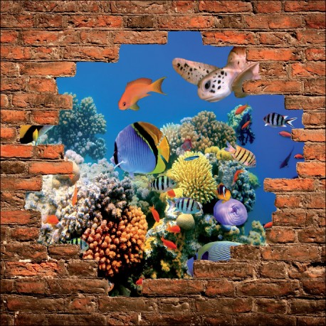 Sticker mural trompe l 39 oeil poissons tropicaux art d co - Deco trompe l oeil mural ...