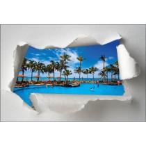Sticker Trompe l'oeil piscine palmier