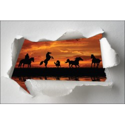 Sticker Trompe l'oeil chevaux cavalier