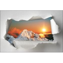 Sticker Trompe l'oeil couché de soleil montagne