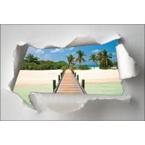 Sticker Trompe l'oeil ponton tropiques