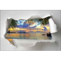 Sticker Trompe l'oeil plage palmier