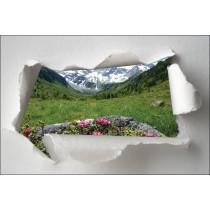 Sticker Trompe l'oeil vue sur la montagne