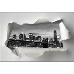 Sticker Trompe l'oeil pont de Brooklyn noir et blanc