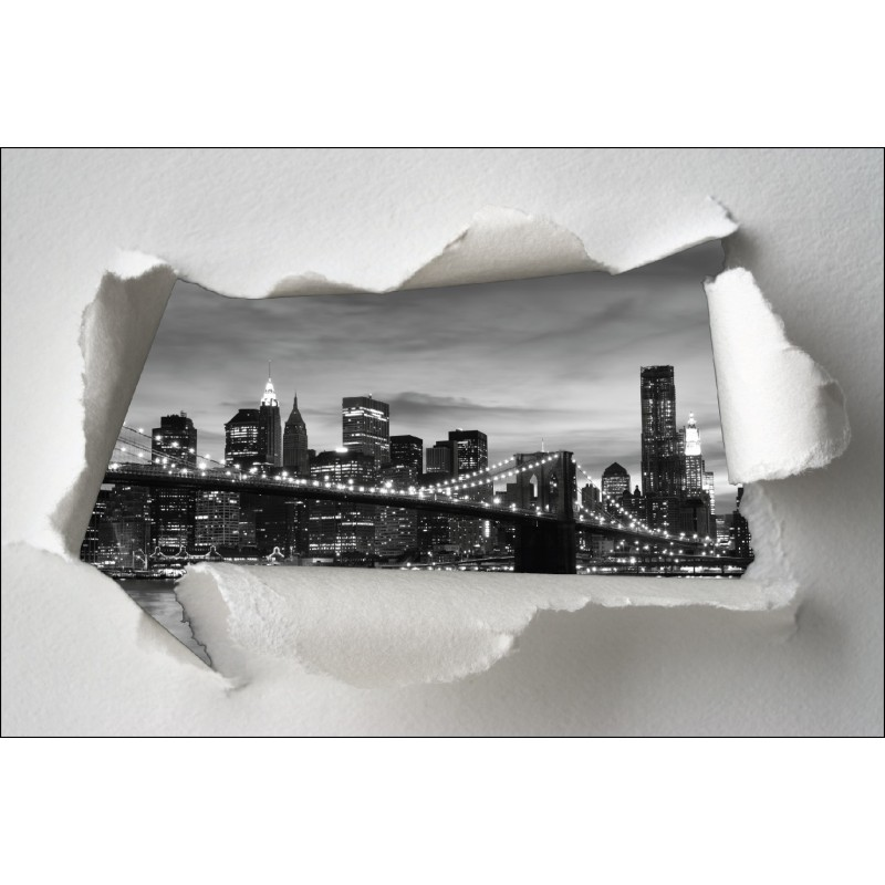 sticker trompe l 39 oeil pont de brooklyn noir et blanc art d co stickers. Black Bedroom Furniture Sets. Home Design Ideas
