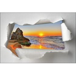 Sticker Trompe l'oeil couché de soleil plage