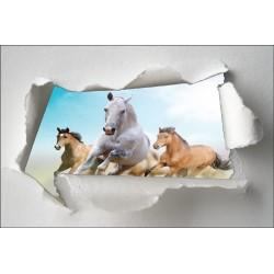Sticker Trompe l'oeil chevaux