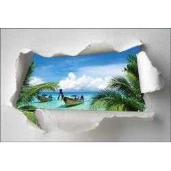 Sticker Trompe l'oeil barque palmier