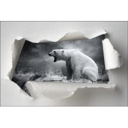 Sticker Trompe l'oeil ours polaire