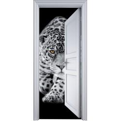 Sticker porte trompe l'oeil jaguard 90x200cm
