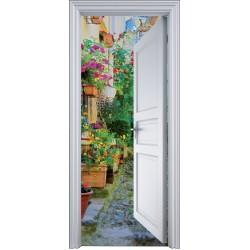 Sticker porte trompe l'oeil ruelle fleurie 90x200cm